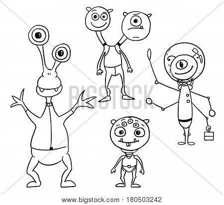 Vector Cartoon Set 04 of friendly alien astronauts