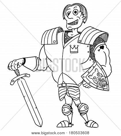 Cartoon vector old fantasy medieval royal Prince Charming knight hero with armor sword shield and smile