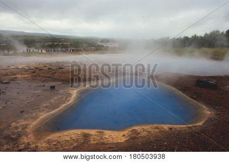 Famous Icelandic Geyser Geysir Strokkur Erupting in Iceland