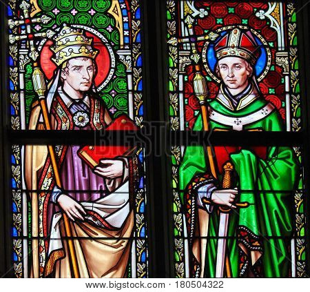 Stained Glass - Saints Pope Leo I And Eugene I