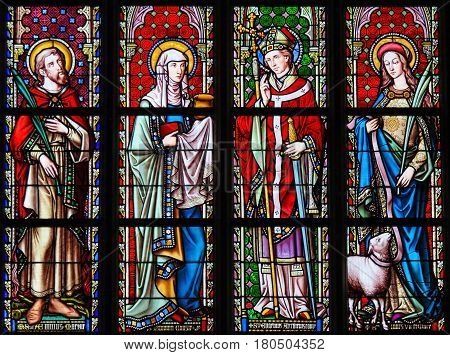 Stained Glass In Sablon Church - Saints Emilius, Joanna, Eugene And Agnes