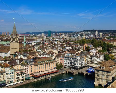Zurich, Switzerland - 31 August, 2015: view of the city from the tower of the Grossmunster Cathedral. Zurich is the largest city in Switzerland and the capital of the Swiss canton of Zurich.