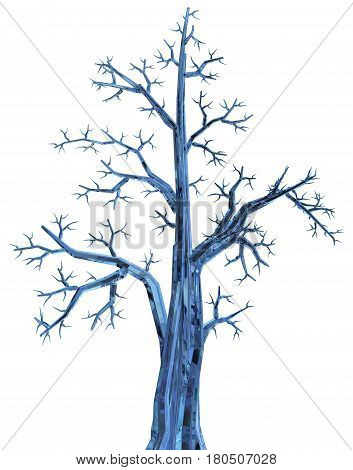 Crystal blue tree 3d illustration vertical isolated over white