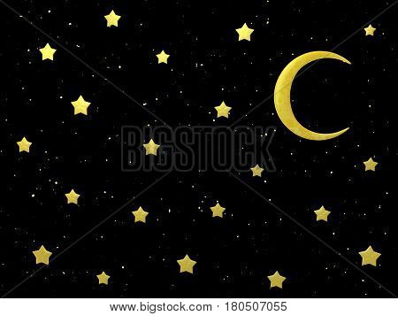 Night moon and stars 3d illustration horizontal dark background