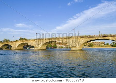 London Bridge In Lake Havasu, Old Historic Bridge Rebuilt With Original Stones