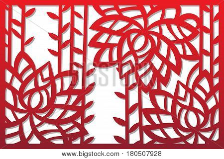 Laser cut flower pattern for decorative panel. Vector template ready for printing, postcards packets, wedding invitation, engraving, paper, wood, metal.