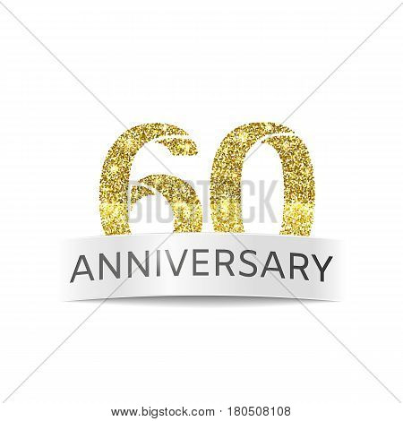 Sixty year anniversary. The flag of the 60th birthday golden glitter color