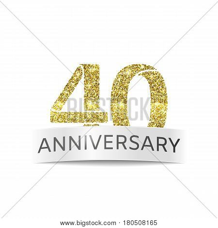 Fourty year anniversary. The flag of the 40th birthday golden glitter color