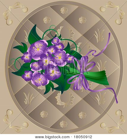 in beige decorative frame bouquet lavender flowers tied with ribbon poster