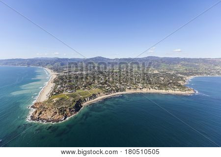 Aerial view of Point Dume in scenic Malibu California.