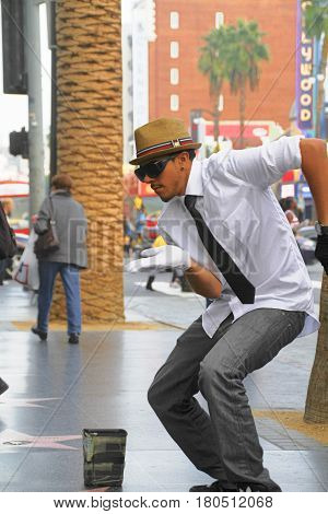 HOLLYWOOD - Nov 1, 2015: Street performer for tips on the world famous walk of fame on Hollywood blvd in Hollywood, CA.