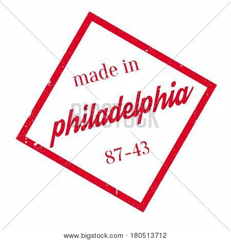 Made In Philadelphia rubber stamp. Grunge design with dust scratches. Effects can be easily removed for a clean, crisp look. Color is easily changed.