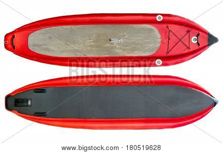 whitewater inflatable stand up paddleboard (top and bottom) isolated on white with a clipping path
