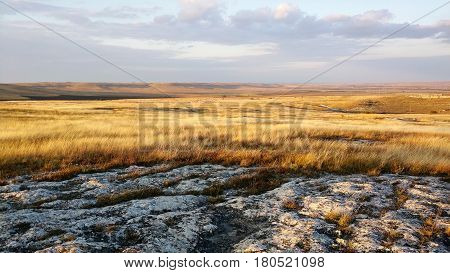 Scenic view of praire landscape at autumn. HIghlands covered with yellow grass under the cloudy sky.