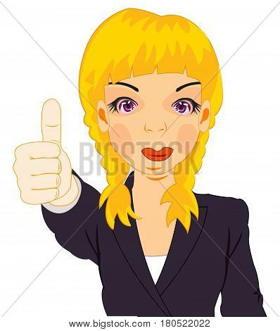 Making look younger girl shows gesture extended upwards finger