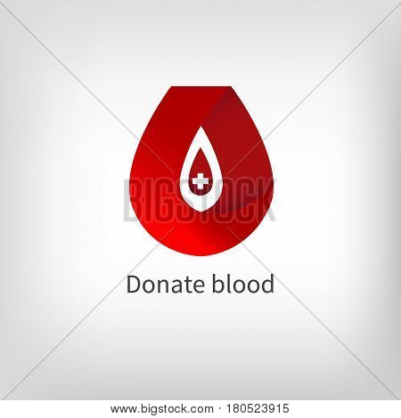 Red ribbon in shape of drop of blood. Banner card for blood donation. Icon charitable organization. Vector illustration.