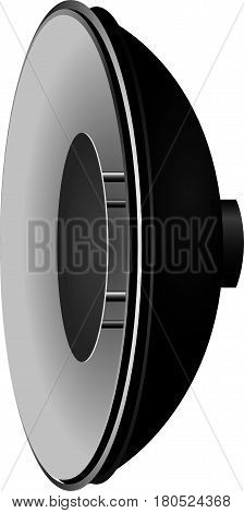 Reflector dish with internal reflector for portrait photography.
