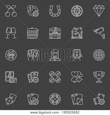 Casino icons collection. Vector gambling outline signs. Poker chips, cards, dealer, slot machine symbols on dark background