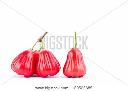 fresh red  rose apple   on white background healthy rose apple fruit food isolated