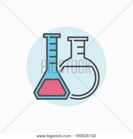 Two flasks colorful icon. Vecto laboratory glassware concept sign or logo element