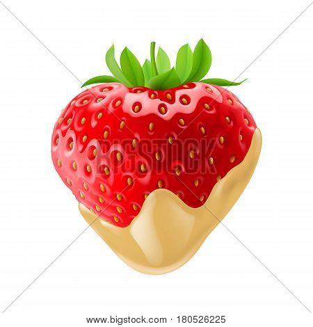 Fresh Strawberry Dipped in White Chocolate Fondue for Creative Design Idea