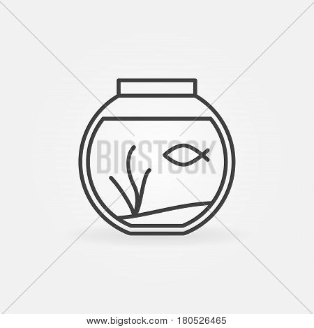 Fish bowl outline icon - vector round aquarium with a fish minimal symbol or logo element in thin line style