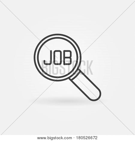 Job search concept icon - vector minimal word JOB in magnifying glass symbol in thin line style