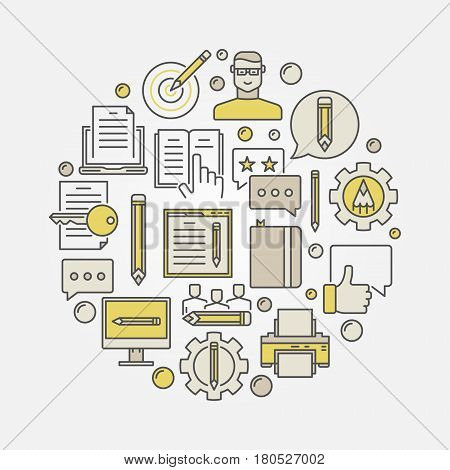 Marketing and copywriting illustration. Vector colorful blogging and web content writing sign in a circular shape
