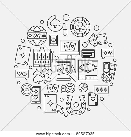 Online casino linear illustration - vector round concept symbol made with poker chips, cards, dice, card suits outline icons