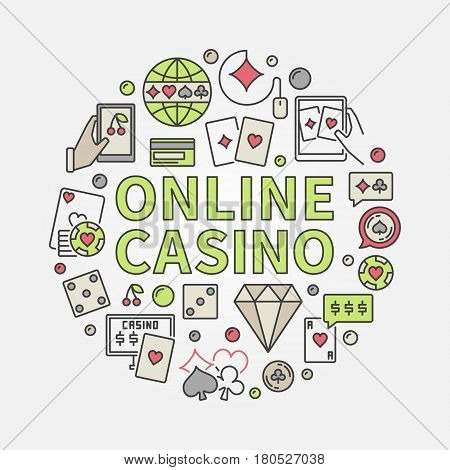 Online casino round illustration. Vector colorful symbol made with gambling icons and ONLINE CASINO phrase