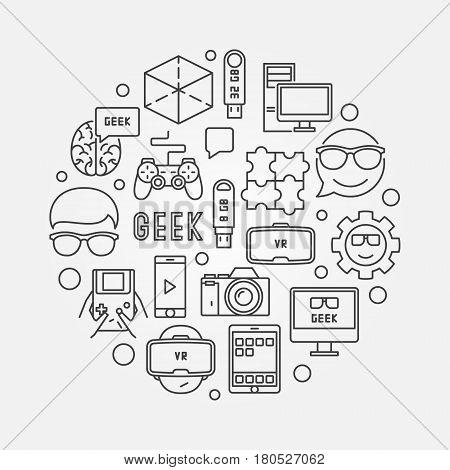 Round geek illustration. Vector computer nerd concept line symbol