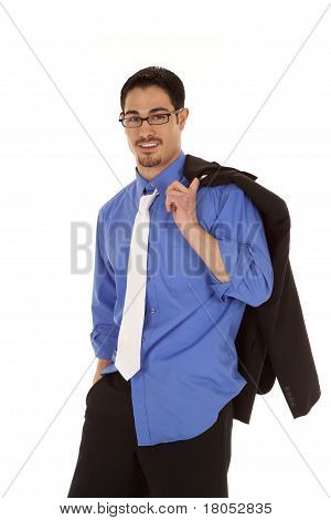 Business Ma Jacket Over Shoulder Smile
