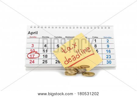 Calendar, paper sheet with text TAX DEADLINE and coins on white background