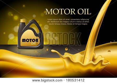 Engine or motor oil on the light golden bokeh background with containers