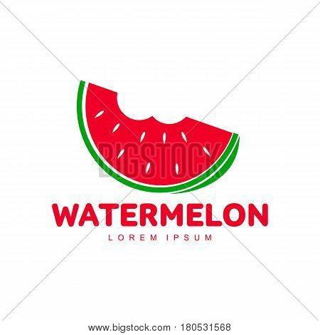 Red and green logo template with stylized watermelon slice with two bites, vector illustration isolated on white background. Watermelon logotype, logo design with bitten watermelon piece