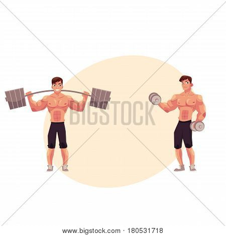 Young man, male bodybuilder, weightlifter working out, training with barbell and dumbbell, cartoon vector illustration with space for text. Male bodybuilder with barbell and dumbbells