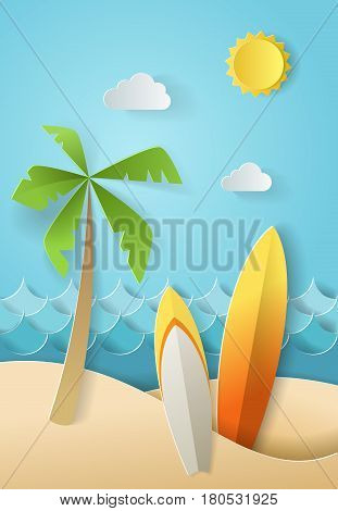 Summer time, surf board and sea or ocean. Design by paper art and craft style