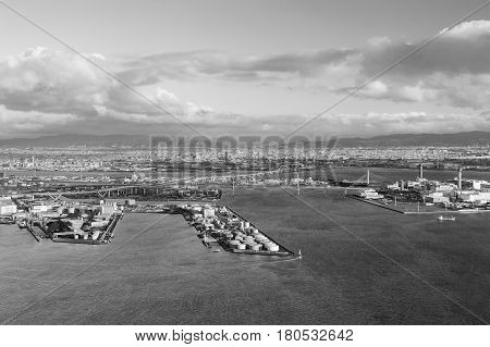 Black and White Osaka port city downtown from Cosmo Tower Observatory Japan