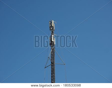 Aerial Antenna Tower Over Blue Sky