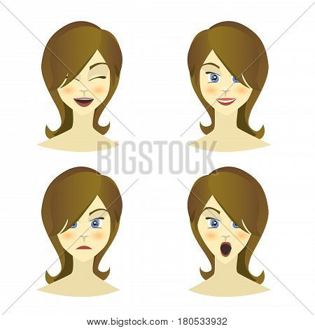 Girl , woman emotions character, joy, happiness, surprise, anger, equanimity, cartoon character, flat style. Vector illustration