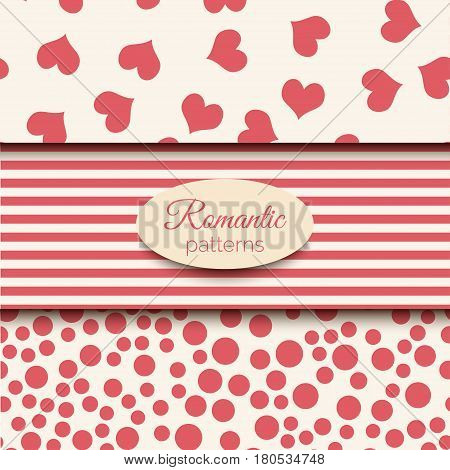 3 romantic vector seamless patterns. Pink and beige color tiling. Endless background can be used for printing onto fabric and paper or scrap booking. Wedding or Valentine s vectors