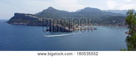 Panorama of Peurto de Soller Mallorca Spain  with lighthouse Bay and mountains