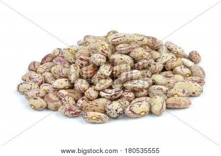 Beige pointed pinto beans, legumes isolated on white background