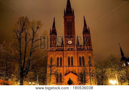 Marktkirche in Wiesbaden in Hessen, Germany at night