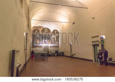 Milan, Italy - November 15, 2016: refectory of church Santa Maria Delle Grazie in Milan in Italy, hosting The Last Supper masterpiece of late 1490s, after restoration. left side point of view.