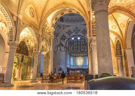 Milan, Italy - November 15, 2016: internal nave of church Santa Maria Delle Grazie, hosting in it's refectory, The Last Supper mural painting by Leonardo da Vinci. right side point of view.