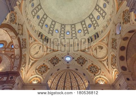 Milan, Italy - November 15, 2016: the apse of church Santa Maria Delle Grazie.