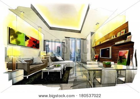 sketch perspective interior living dinning room in watercolor on paper.
