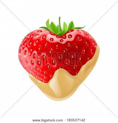 Tasty Strawberry in Heart Shape Dipped in White Chocolate Fondue for Creative Idea