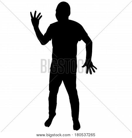 Silhouette of man showing four fingers over white background
